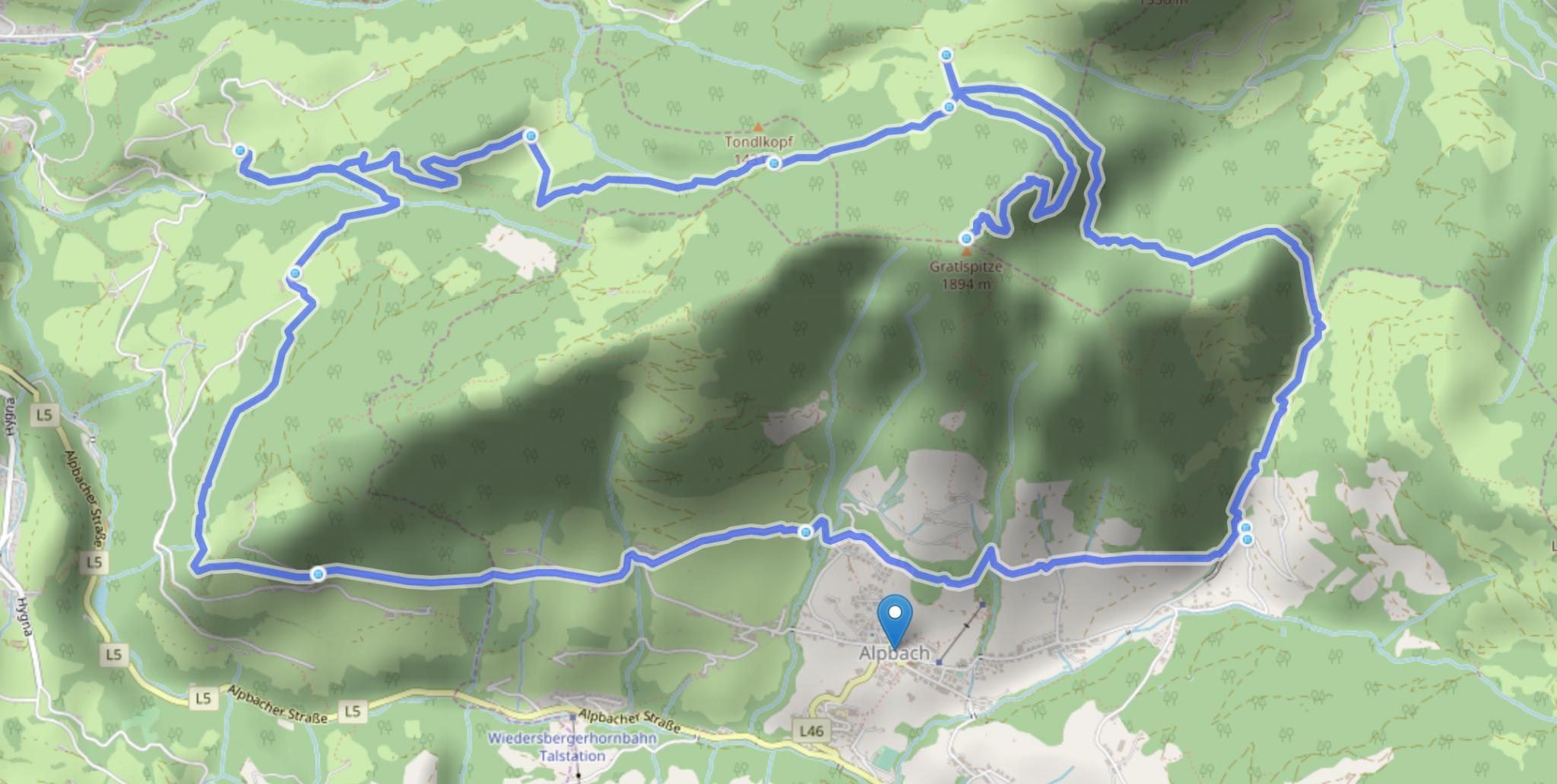 Tourverlauf Gratlspitze Alpbachtal